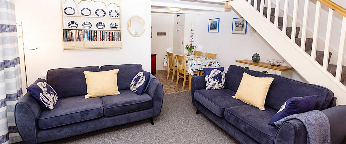 The lounge in Waterside Cottage at Chypons Farm Self Catering Holiday Cottages St Ives Cornwall